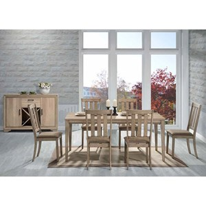 7 Piece Rectangular Table Set w/ Slat Back Chairs