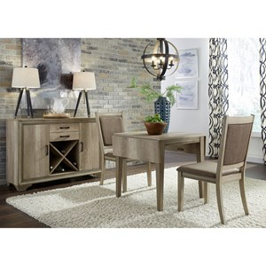 3 Piece Drop Leaf Set with Upholstered Chairs