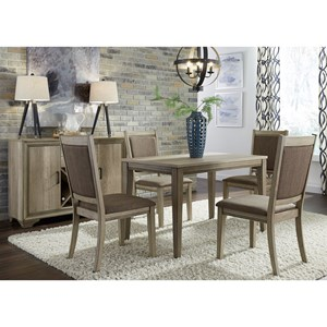 5 Piece Cafe Table Set with Upholstered Chairs