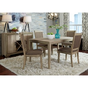 5 Piece Leg Table Set with Upholstered Chairs