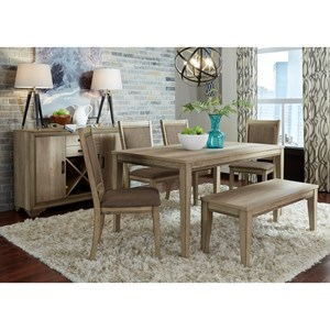 6 Piece Rectangular Table Set with Bench