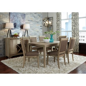 7 Piece Rectangular Table Set w/ Upholstered Chairs