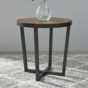 Contemporary Round End Table with Metal Base
