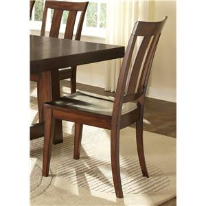Side Chair with Slat Back Design and Contoured Seat