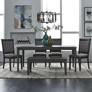 6 Piece Rectangular Table and Chair Set with Bench