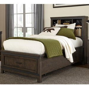 Rustic Full Bookcase Bed with Footboard Storage