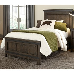 Rustic Full Panel Bed with Hammered Metal Strip Accents