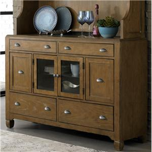 6-Drawer Buffet with Antique Pewter Cup Pull Hardware