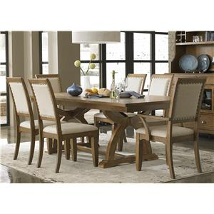 Liberty Furniture Town & Country 7 Piece Trestle Table Set