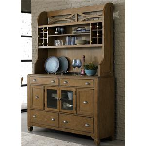 Dining Hutch & 6-Drawer Buffet with Unique Curved X Accents