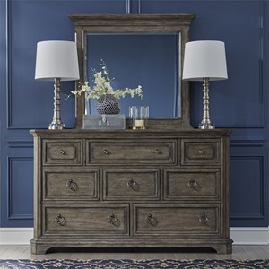 Traditional Dresser and Mirror Set