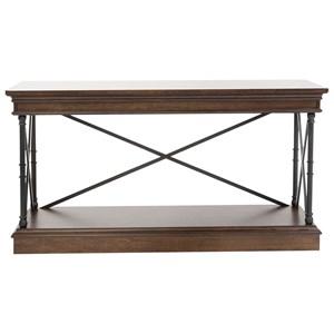 Metal/Wood Sofa Table with Shelf
