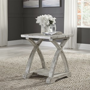 Rustic Chairside Table with Bottom Shelf