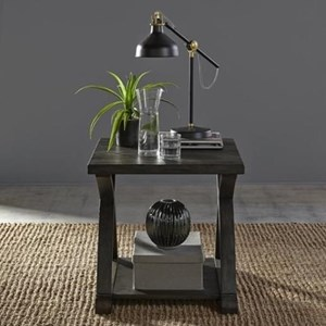 Rustic End Table with Bottom Shelf