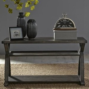 Rustic Sofa Table with Two Shelves