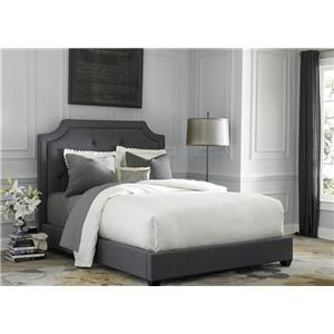 Queen Upholstered Sloped Panel Bed