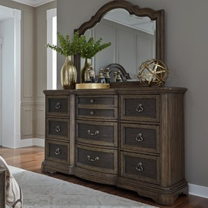 Traditional 9 Drawer Dresser with Bow Shaped Center Drawers & Mirror