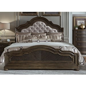 Traditional King Bed with Upholstered Headboard