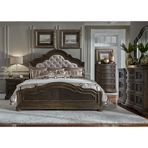 4PC King Bedroom Set w/ Upholstered Headboard