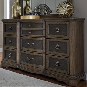 Traditional 9 Drawer Dresser with Fully Stained Interior Drawers