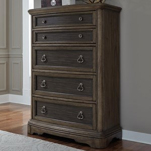 Traditional 5 Drawer Chest with Fully Stained Interior Drawers