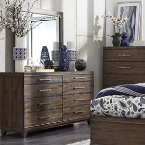 Contemporary Dresser and Mirror Set