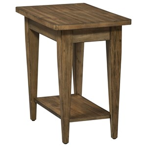 Casual Pine Chairside Table with Bottom Shelf