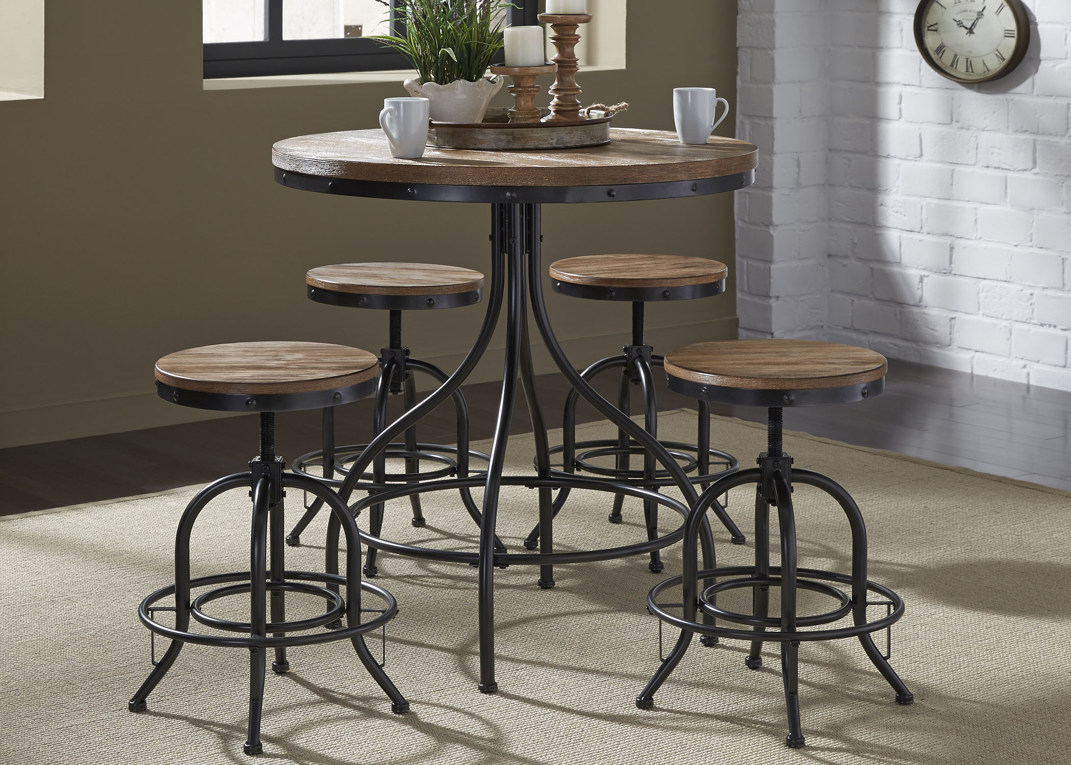 Vintage Dining Series 5-Piece Counter Height Pub Table Set by Libby at Walker's Furniture