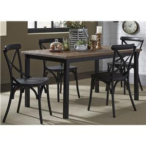 5-Piece Rectangular Leg Table and X-Back Chair Set