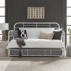 Twin Metal Trundle Daybed with Turned Spindles