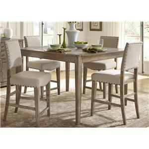Rustic Casual 5 Piece Gathering Table Set