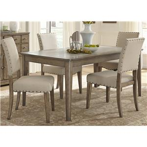 Rustic Casual 5 Piece Rectangular Table Set