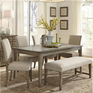 Rustic Casual 6 Piece Dining Table and Chairs Set with Bench
