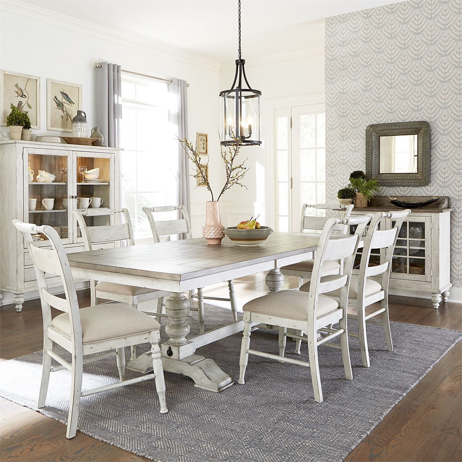 Whitney 7 Piece Trestle Table Set  by Libby at Walker's Furniture