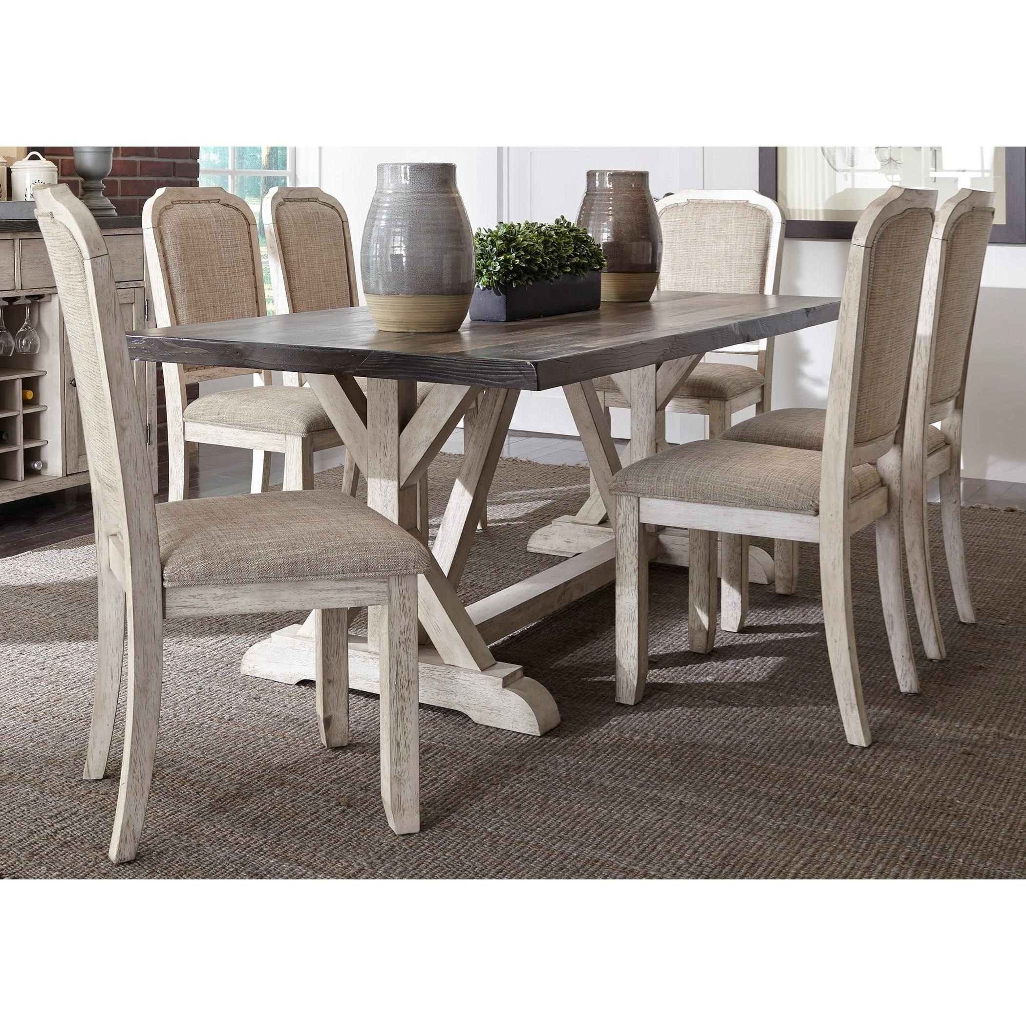 Willowrun 7-Piece Trestle Table Set  by Libby at Walker's Furniture