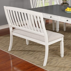Cottage Style Dining Bench with Upholstered Seat