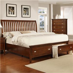Lifestyle 4130A Full Sleigh Storage Bed