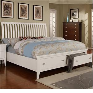 Queen Sleigh Bed with 2 Storage Drawers