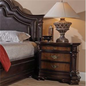 Ornate Traditional Nightstand with Three Drawers