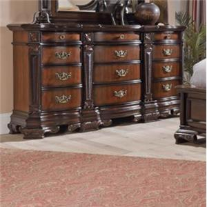 Ornate Traditional Dresser with Twelve Drawers