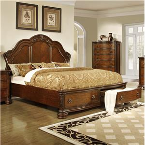 Lifestyle 5390A California King Size Panel Bed with Storage