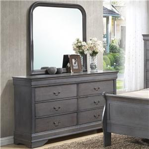 6 Drawer Dresser & Rounded Square Mirror Combo