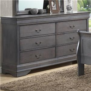 6 Drawer Dresser with Decorative Pulls