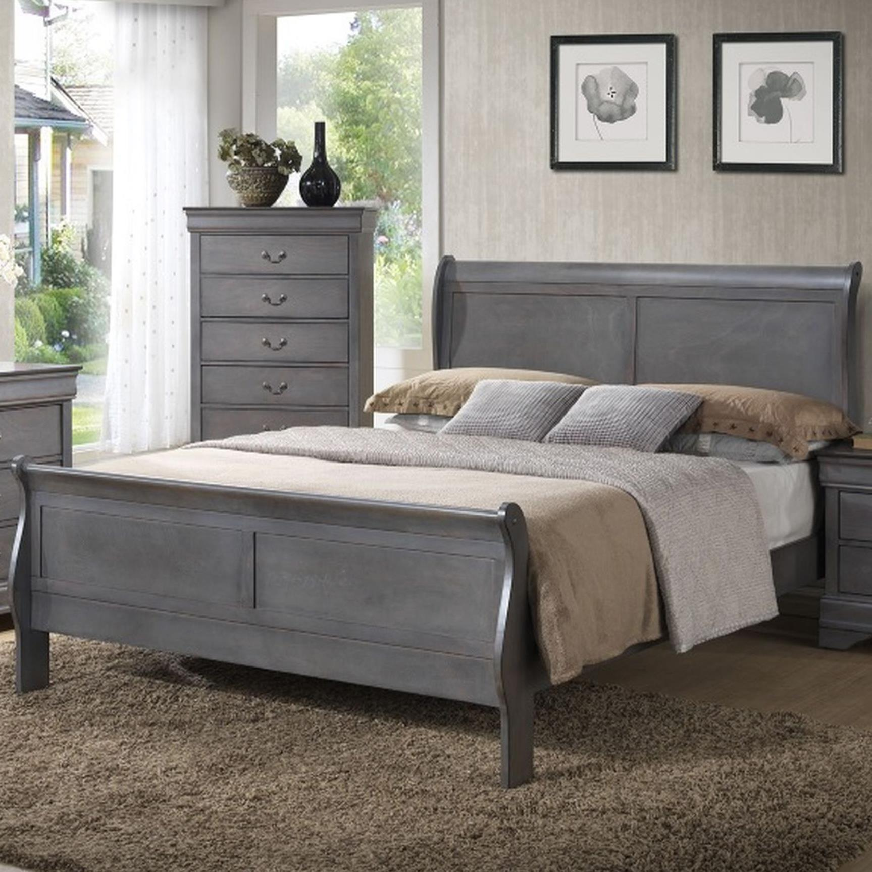 4934A Queen Sleigh Bed by Lifestyle at Beck's Furniture