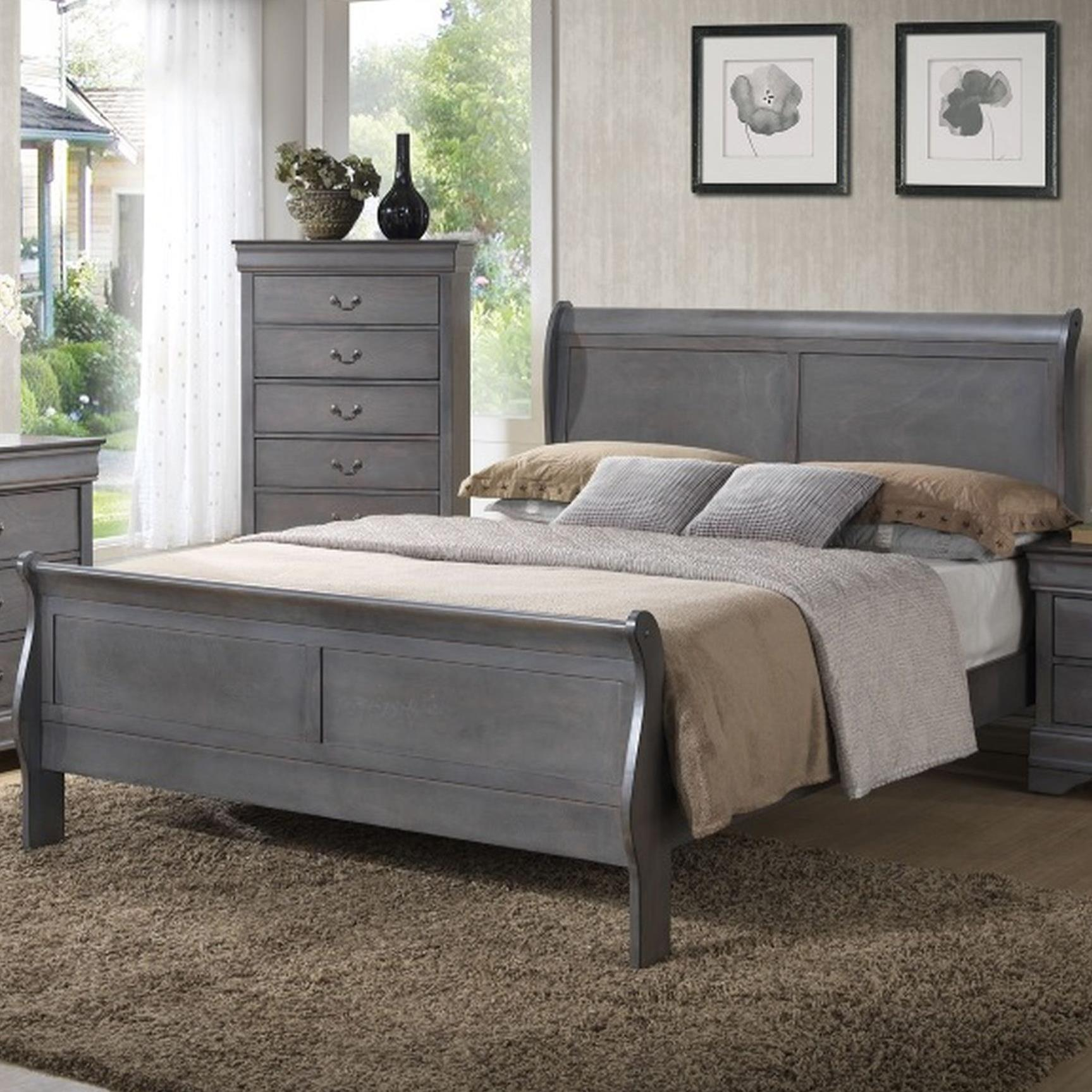 4934A Twin Sleigh Bed by Lifestyle at Beck's Furniture