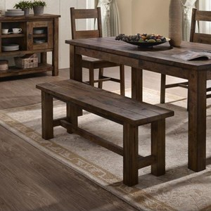 Rustic Dining Bench with Block Legs