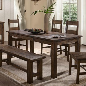 Rustic Dining Table with Thick Block Legs