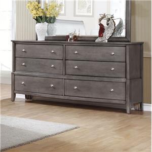 6 Drawer Dresser with Small Round Hardware
