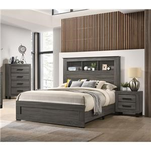5 Piece Full Bookcase Bedroom Group