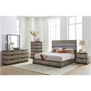 Queen 3 Pc Bed, Dresser and Mirror